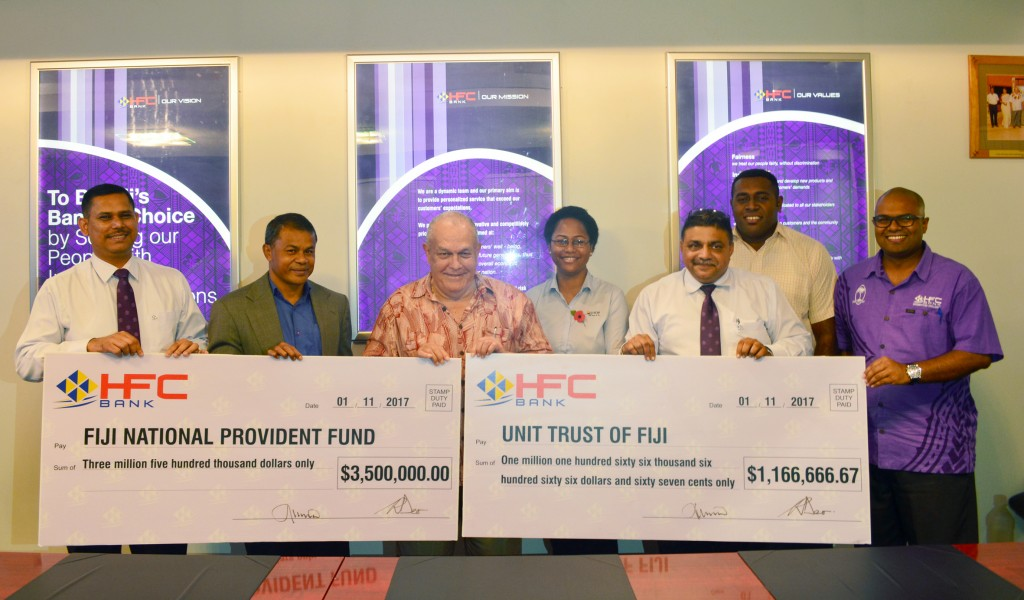(L-R Rajnesh Deo (HFC Bank), Suliano Ramanu - Manager Equity (FNPF), Tom Ricketts (HFC Bank Chairman), Elenoa Kaloumaira (UTOF), Raj Sharma (A.CEO), Isoa Makutu (FNPF) ,Tony Ram (HFC Bank)